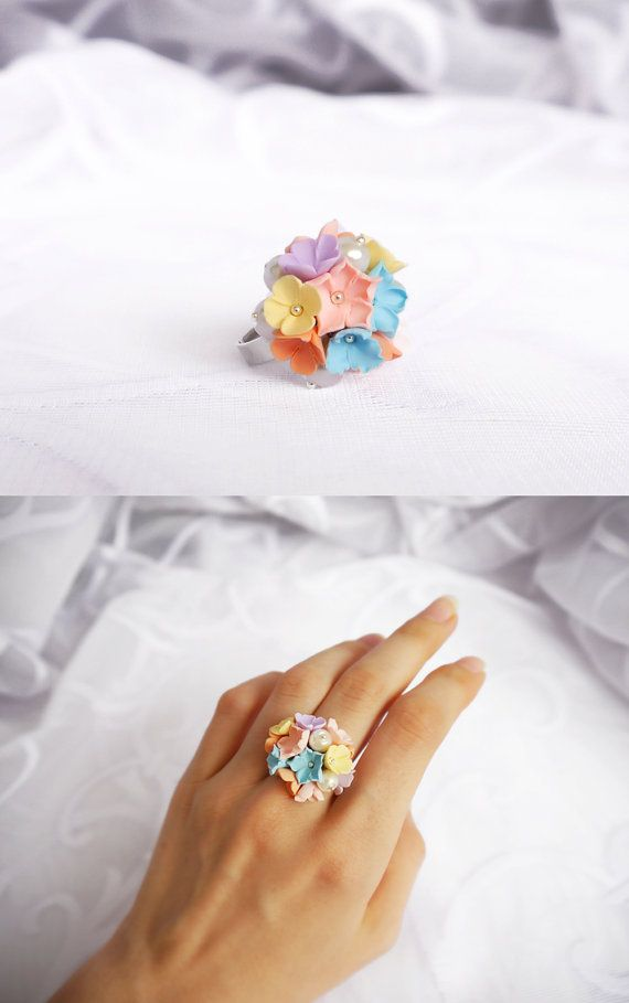 Bouquet ring Wedding ring Floral ring Polymer clay by BeLoveCreate