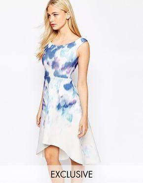 True Violet Printed Off Shoulder Prom Dress With High Low Hem