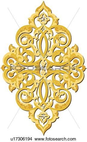 Gold decorative Design Ornament View Large Clip Art Graphic
