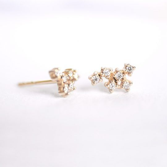 Tiny  gold and diamond cluster earrings.