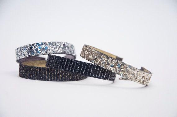 pulseras de cuero en dorado plateado y brillante por yotoko en Etsy