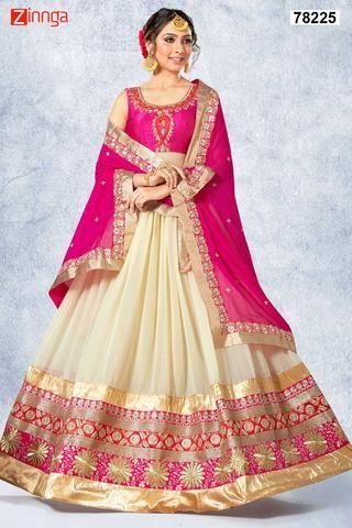 Women's Beautiful Cream Georgette Fabric Pretty Unstitched Lehenga Choli  #Zinngafashion #Lehengas  #Pretty #Special #Offers #Happy#Shopping #Indianwear   #LatestTrend #Womenswear #Designwear #Nice #Picoftheday #Wonderful