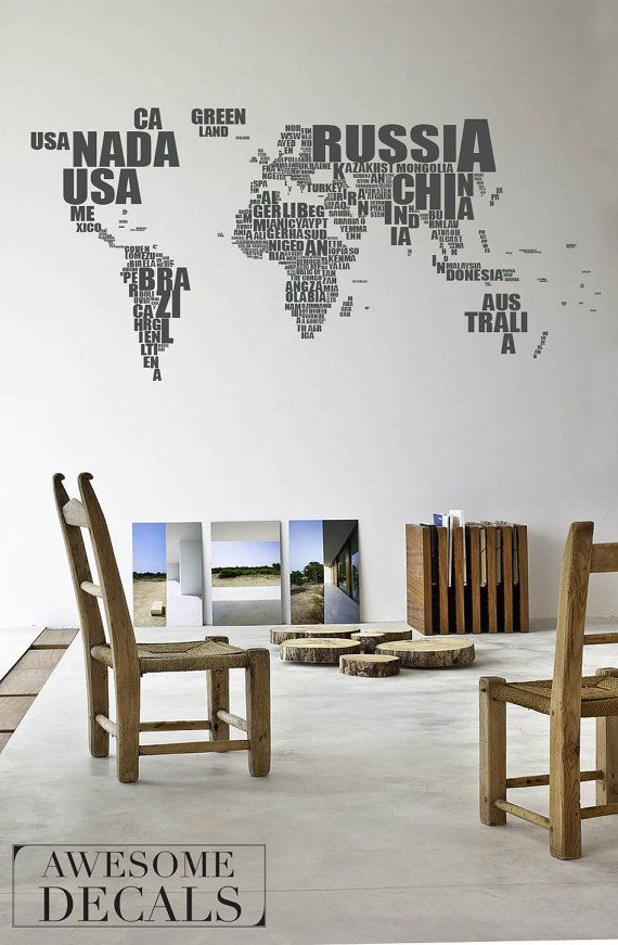 World map typography Wall Map Decal Word World by awesomeDecals