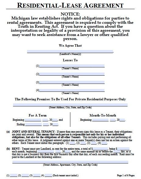 Printable Sample Lease Agreement Template Form