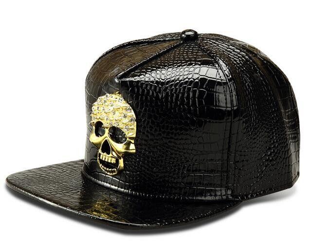 USA Rhinestone Skull Pattern PU Snapback Cap Adult Silver Red Golden Metal Logo Leather Casual Fashion Hiphop Baseball Hat