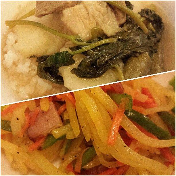 #sinigang and #japanese style #veggies for #dinner #yummy #filipino and japanese #food #philippines #シニガン と懐かしい#ポテト 炒め #フィリピン #料理 #晩ごはん