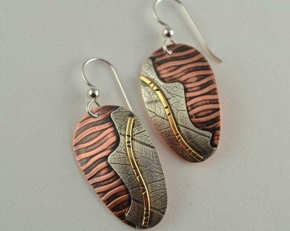 Mixed Metal Earrings - Textured Copper  Earrings - Metal Earrings