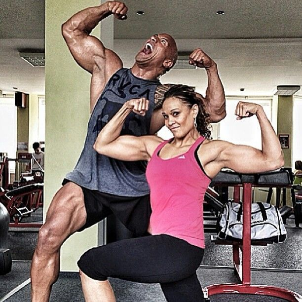 Dwayne Johnson (The Rock) & his cousin Sarona Reiher (Tamina Snuka) training for their movie Hercules