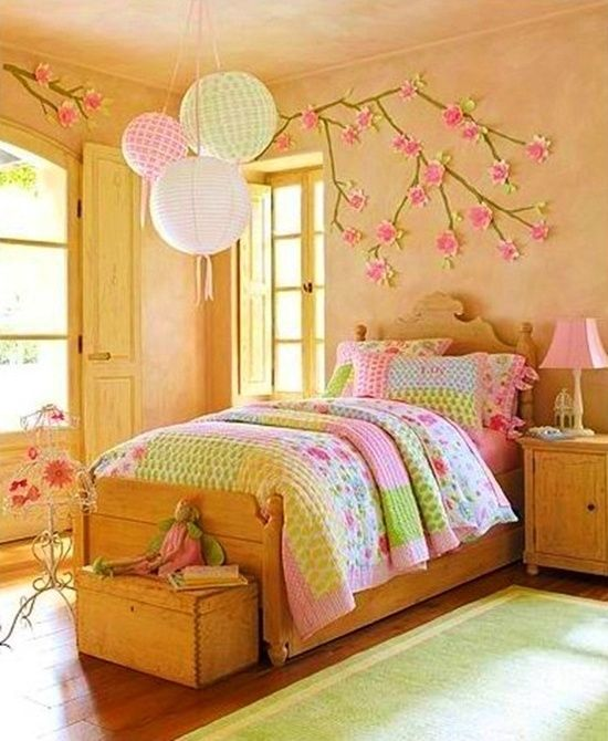 Pink and green girl's room.  Make a cherry blossom tree on the wall?