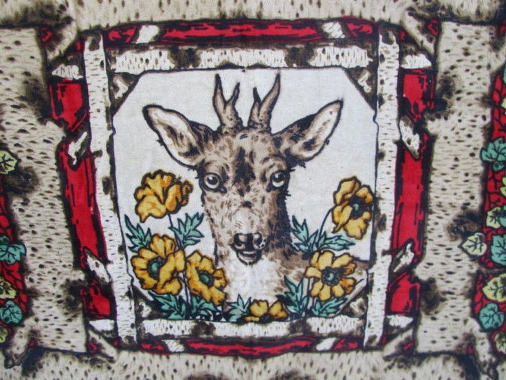 Antique Primitive Deer Stag Buggy BLANKET Wool CHASE 59 x 59 CAMP Home