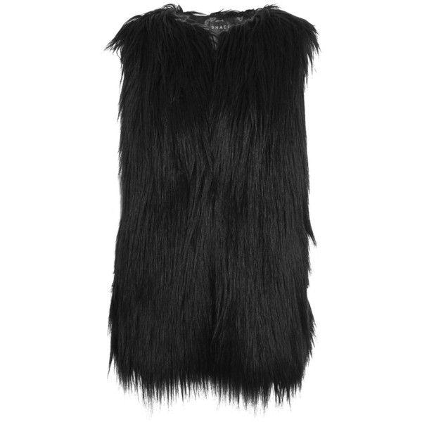 Faux Fur Gilet by Shaci (280 PLN) ❤ liked on Polyvore featuring outerwear, vests, black, faux fur gilets, fake fur vests, faux fur waistcoat, topshop vest and faux fur vests