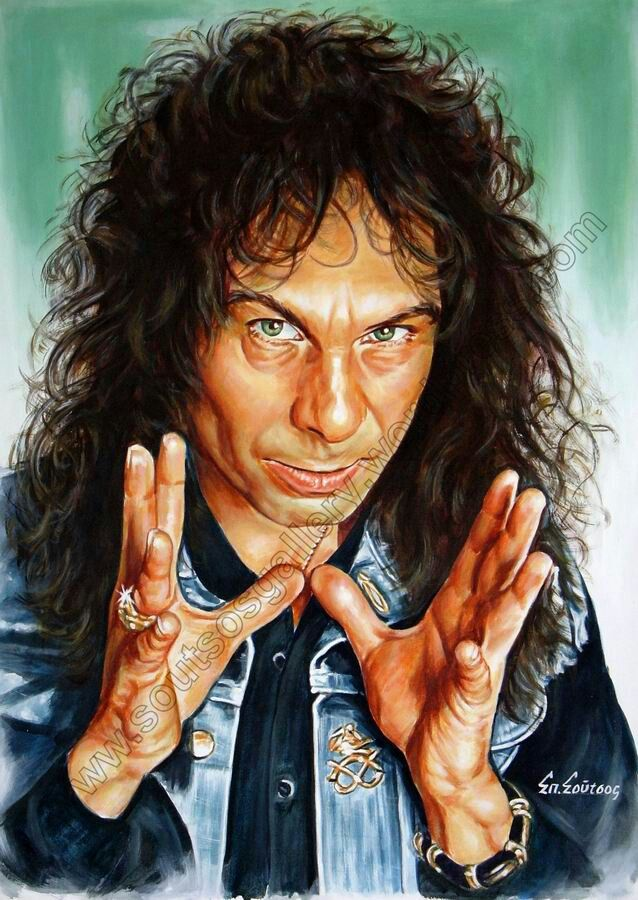 Amazing painting of the late, great, Ronnie James Dio, by an incredibly talented Greek artist by the name of Spiro Soutsos. http://soutsosgallery.wordpress.com