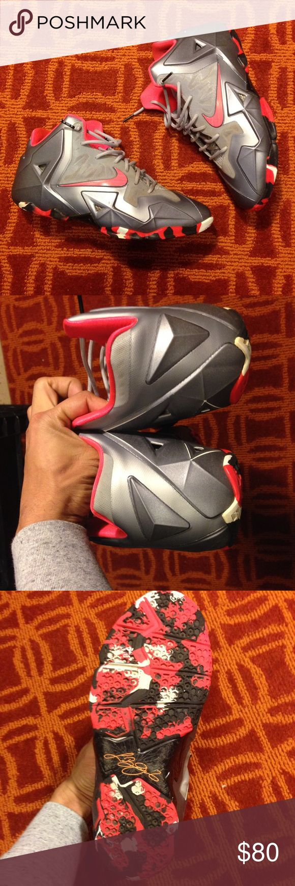 Nike Lebron XI 100% authentic.... bright pink silver and black...In decent condition. Nike Shoes Sneakers