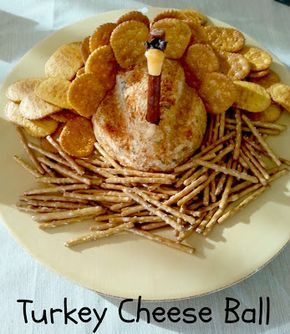 """A """"Turkey"""" Cheese Ball! How cute is this! #Thanksgiving #Appetizer"""