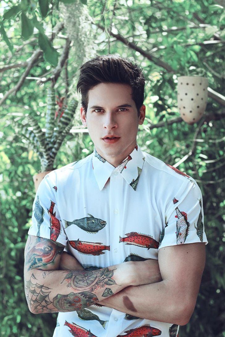 Camisa de manga corta con peces #camisa #hombre #original #mangacorta