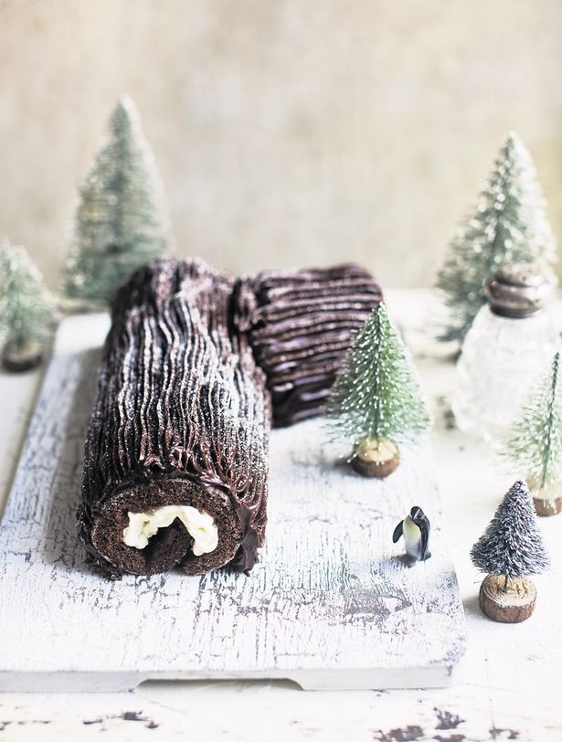 Mary Berry's Yule Log ~ traditional French holiday dessert of choc Swiss roll with whipped cream & chocolate ganache icing | by Mary Berry from the cookbook 'The Great British Bake Off: Christmas' | recipe via The Mirror