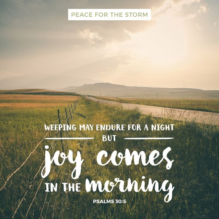 For His anger is but for a moment, His favor is for life. Weeping may endure for a night, but joy comes in the morning. Psalms 30:5 (NKJV)
