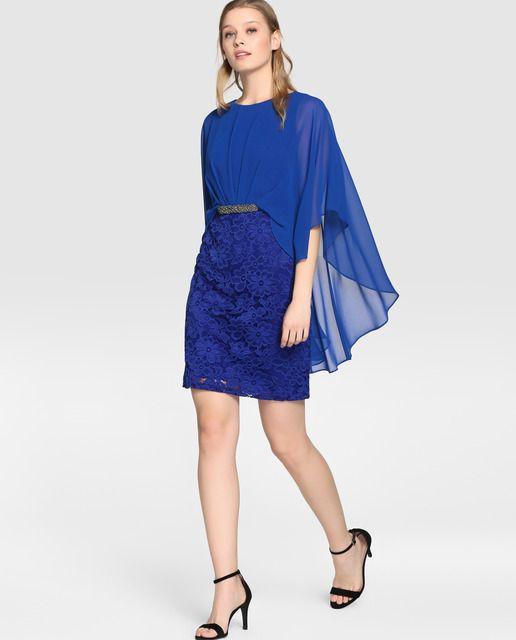 Vestido de encaje de mujer Fiesta El Corte Inglés en azul