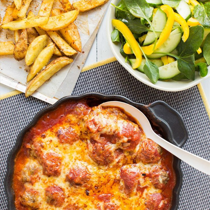 Lamb Meatballs with Oven Chips and Salad