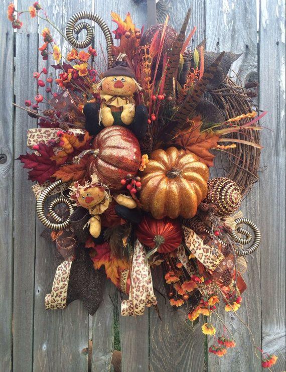 Fall Wreath Autumn Wreath Fall Decoration Autumn by BaBamWreaths