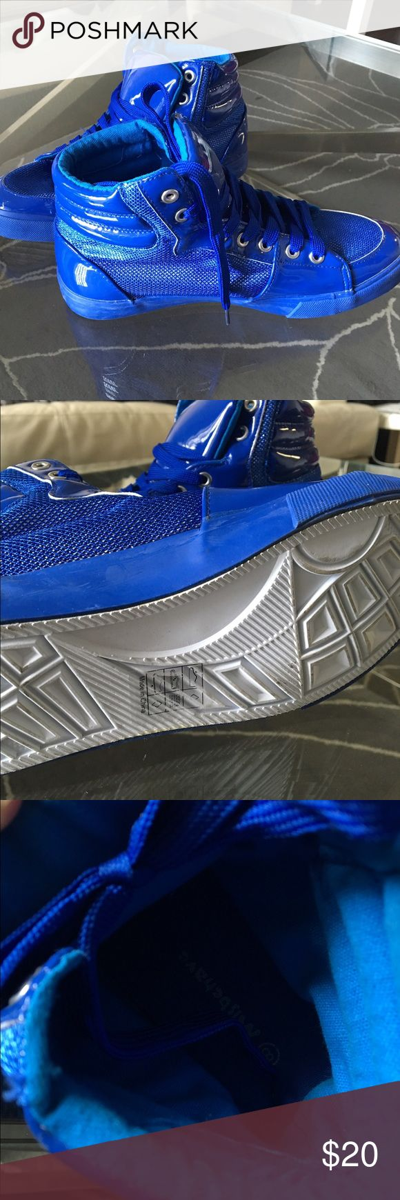 Patent Leather and Metallic Mesh Lace Up Sneakers Blue Patent Leather and Metallic Mesh Lace up Sneakers #Dope Shiny Blue Patent Leather and Metallic Mesh Lace up Sneakers  Brand-new from a boutique shoe store Bought for $40 Shoes Sneakers