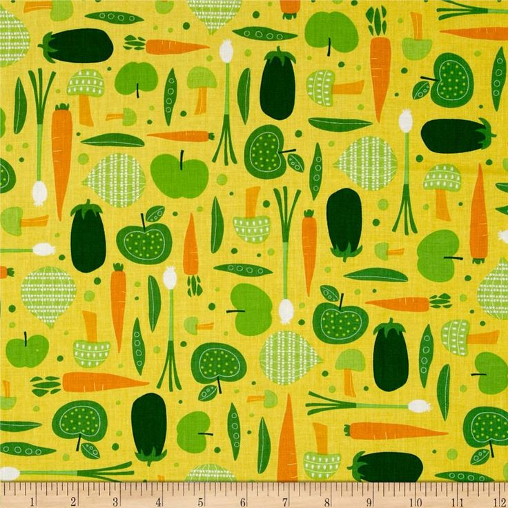 Cultivate and Cook Vegetables Yellow from @fabricdotcom  Designed by Pink Light Design for Robert Kaufman Fabrics, this cotton print includes colors of green, yellow, orange and white. Use for quilting, crafts, apparel and home decor accents.