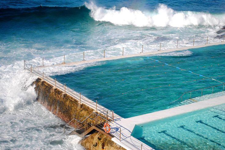 The ocean pools below the famous Bondi Icebergs Swim club in Bondi Beach, Sydney, Australia.