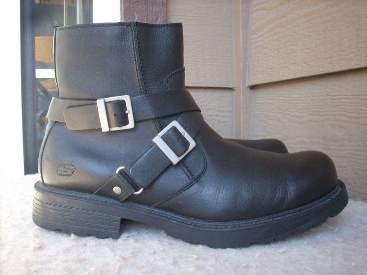 Skechers men boots 13 Black Motorcycle Ankle Leather #SKECHERS #Motorcycle