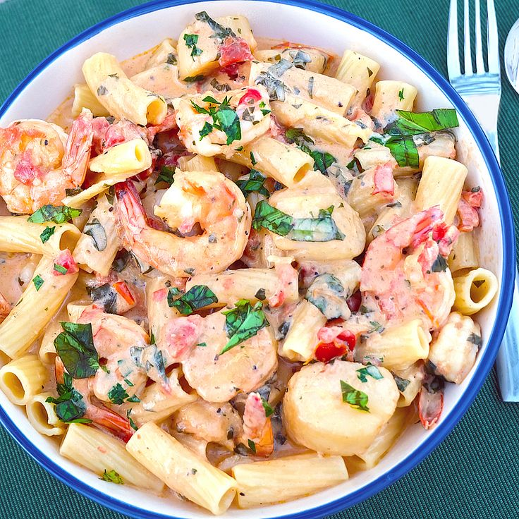 Pasta w/ Shrimp & Scallops in Pink Sauce — A restaurant meal from your kitchen