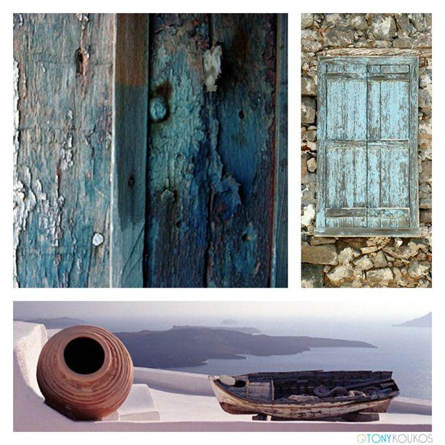 Aegean sea, greece, Santorini, whitewashed, blue, water, caldera, chair, ceramic vase, view, smokey blue, island art, travel, photography, Tony Koukos,