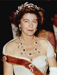 Frederica of Hanover, Queen Consort of Greece wearing the ruby parure