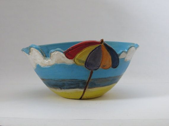 Ceramic pottery functional bowl  beach scene by TurningTrueStudios, $50.00