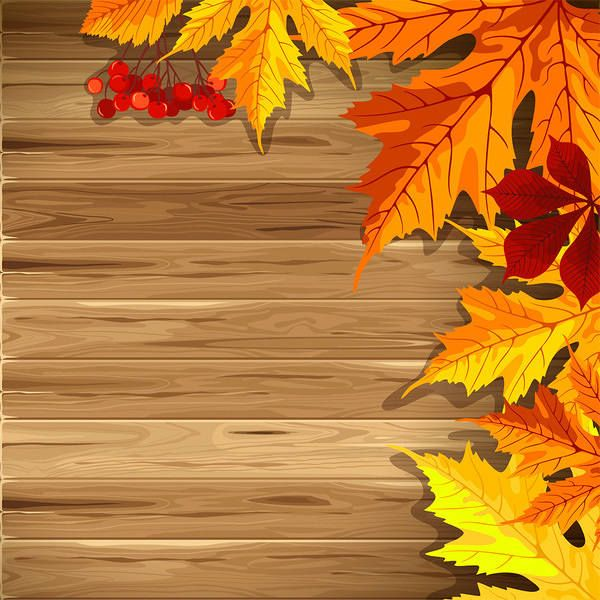 Wooden Fall Background with Leaves