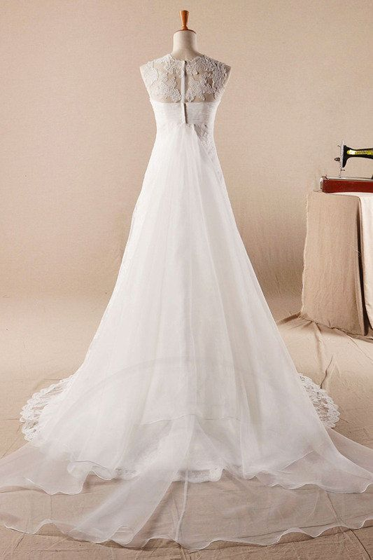 Robe de mariée de traîne watteau avec fleurs avec sans manches plissé ras du cou