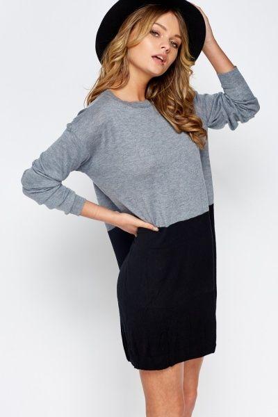 Colour Block Long Jumper Dress - Beige/Black or Light Blue/Grey - Just £5