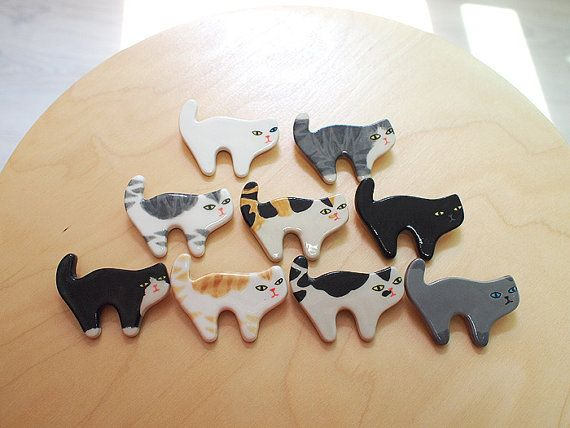 Ceramic Cat brooches by sosim