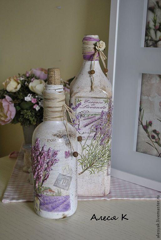 """Купить Бутылка """"Lavandula"""" - бледно-сиреневый, лаванда, прованс, декор для интерьера, Декоративная бутылка"""