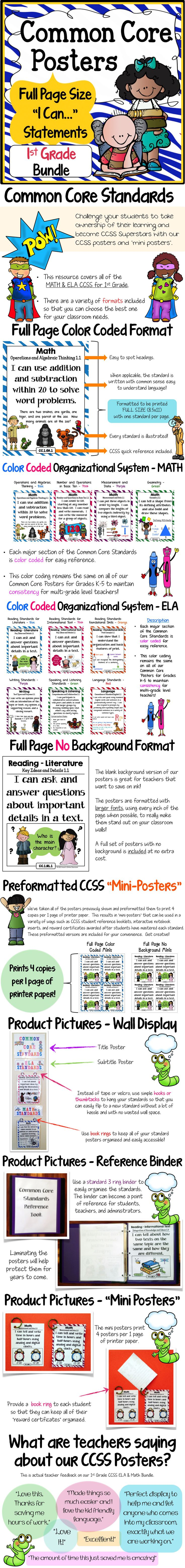 "1st Grade Common Core Posters! Full page size with 1 standard per page - LARGE fonts and illustrations! ""Mini-posters"" included as well. $"