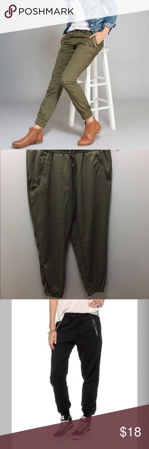 Ladies joggers 2 available! Make your offer quick! Mossimo ladies joggers. Great condition. Both have never been worn. Zip up pockets. Black size large and olive green size extra small available. Hurry!! If you don't like the price make your offer before they're gone!! Mossimo Pants