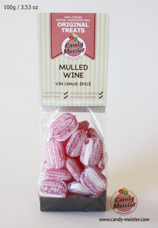 Mulled Wine Candy contains only natural gluten and dairy free ingredients. Selected spices such as cinnamon, clove, and vanilla give this candy an intense and distinctive flavour. When dissolved in hot water, the candy turns into a naturally sweetened mild spiced tea.