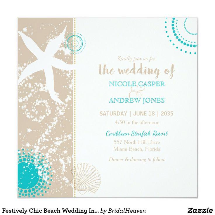 103 best budget beach wedding invitations images on pinterest festively chic beach wedding invitation stopboris Choice Image