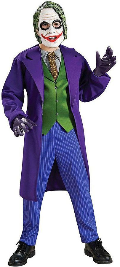 Pin for Later: 169 Warm Halloween Costume Ideas That Won't Leave Your Kids Freezing Batman The Dark Knight Deluxe The Joker Costume Justice Batman The Dark Knight Deluxe The Joker Costume ($40, originally $45)