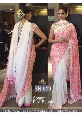 Bollywood Replica - Sonam Kapoor White Pink Georgette Saree - SN-519