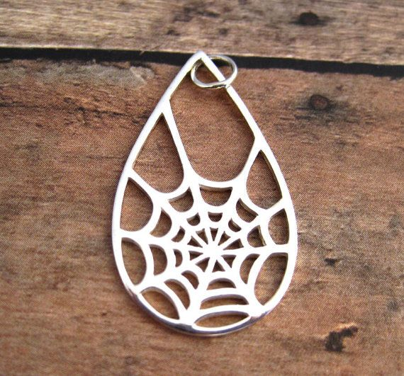 Sterling Silver Cutout Spiderweb  Pendant Charm by Orodoro on Etsy