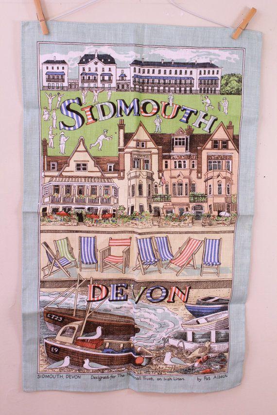 Vintage  Irish Linen  Pat Albeck  Sidmouth Devon by starlingdarlin