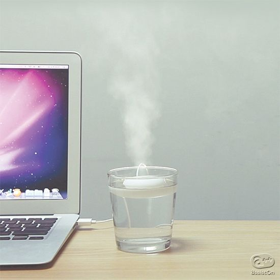 We at Peach & Lily love the Fogring - a portable, travel-sized humidifier that connects into your laptop via USB!