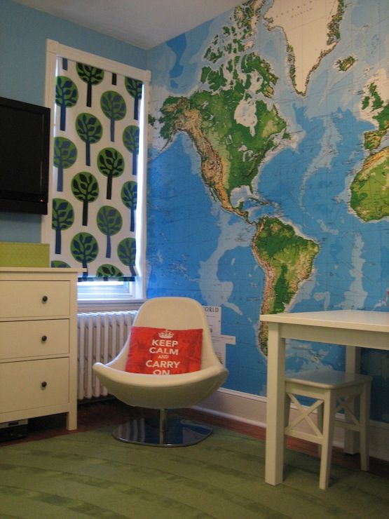 boy's rooms - Benjamin Moore - Pool Party - Toys R Us World Mural Wallpaper, boys room, roman shade, ikea tirup, world map wallpaper,  boy's