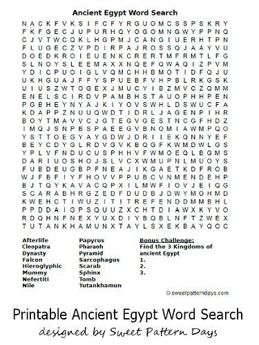 Ancient Egyptian Sports and Games: Word Search Puzzle
