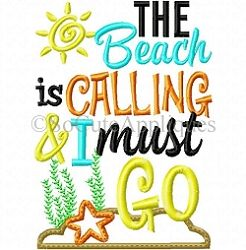The Beach is Calling and I Must Go Applique - 5x7   What's New   Machine Embroidery Designs   SWAKembroidery.com So Cute Appliques