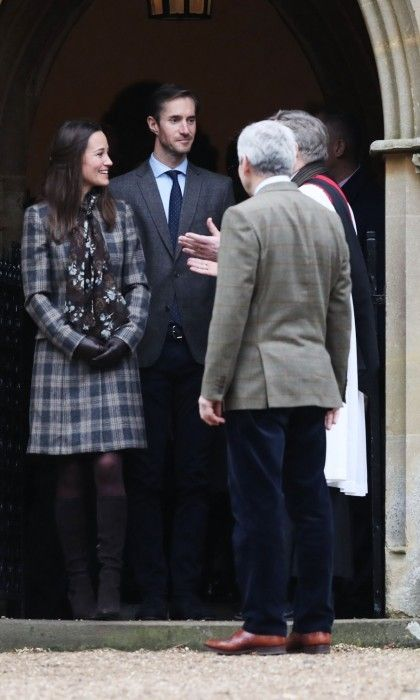 Pippa Middleton, James Matthews and Michael Middleton also attended the morning Christmas Day service at St. Mark's Church in Englefield, Berkshire.